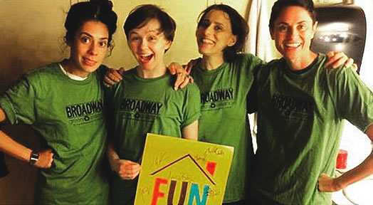 """The Broadway Green Alliance educates, motivates and inspires the theatre community to keep it green. Every Broadway show and every major Broadway union has its own Green Captain, who helps make the theatre world more sustainable. Above, the Green Captains at the Broadway show """"Fun Home"""" (Roberta Colindrez, Emily Skeggs, Judy Kuhn and Beth Malone)."""