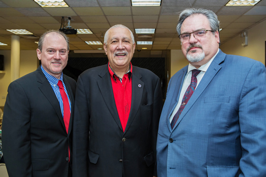 From left, Recording Vice President Andy Schwartz, Paquito D'Rivera, President Tino Gagliardi