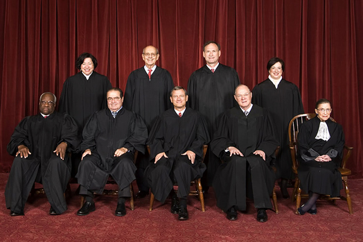 THE SUPREMES: Top row (left to right): Sonia Sotomayor, Stephen G. Breyer, Samuel A. Alito and Elena Kagan. Bottom row: Clarence Thomas, the late Antonin Scalia, Chief Justice John G. Roberts, Anthony Kennedy and Ruth Bader Ginsburg. Photo: Steve Petteway via Wikipedia.com