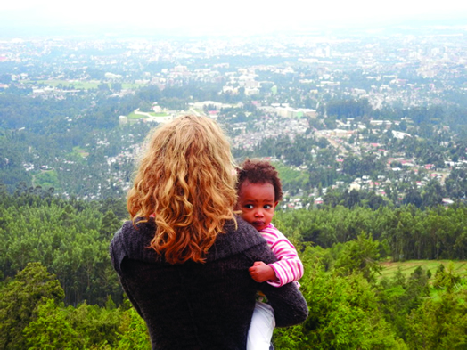 Anja Wood and her daughter, overlooking Addis Ababa, Ethiopia in 2011
