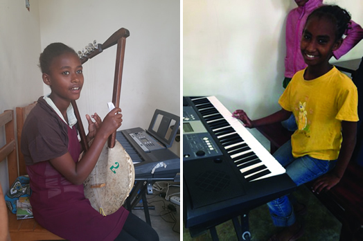 At left, Frehiwot is playing the krar, a kind of Ethiopian guitar. On the right, Yayesh at her music lesson.
