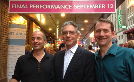 Michael Keller with Ray Marchica and Dave Nyberg on the closing night of Mamma Mia (Sept. 12, 2015) after a 14-year run, making it the eighth longest running Broadway show.