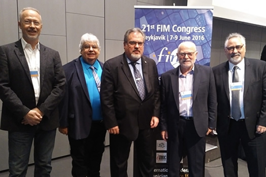This year's Congress of the International Federation of Musicians (FIM) continued to focus on performance rights for session musicians as well as issues around music streaming. From left: FIM General Secretary Benoit Machuel, Alan Willaert (AFM vice president from Canada),Local 802 President Tino Gagliardi, FIM President John Smith and Bruce Fife (AFM international vice president)