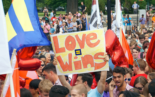 A large crowd celebrates in front of the Supreme Court on June 26, 2015 when same-sex marriage was ruled constitutional. Photo: Ted Eytan via flickr.com