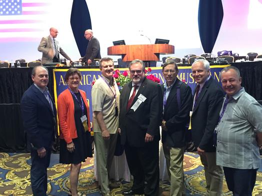 AT THE 100th AFM CONVENTION (from left): Andy Schwartz, Gail Kruvand, Clint Sharman, Tino Gagliardi, Tom Olcott, Bud Burridge and Bob Suttman.