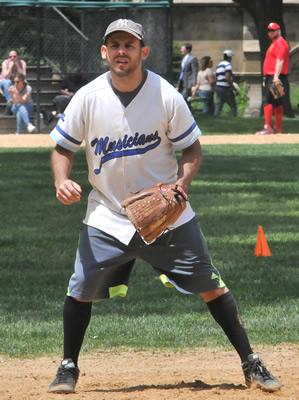 Aaron Low sets up at third base.