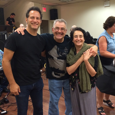 From left, guitarist and vocalist Bruce McDaniel, band leader Ed Palermo and ERF coordinator Bettina Covo.