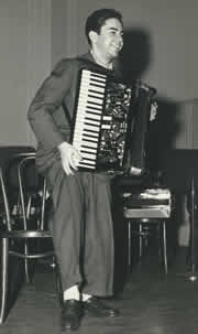 Local 802 member Marvin Pakman with his accordion as a young man.