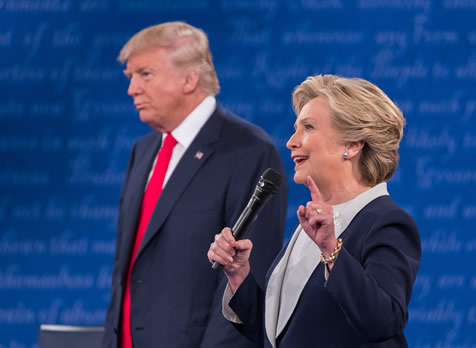 Hillary Clinton and Donald Trump at the second presidential debate in St. Louis on Oct. 8. Photo: Dam Schultz for Hillary for America.