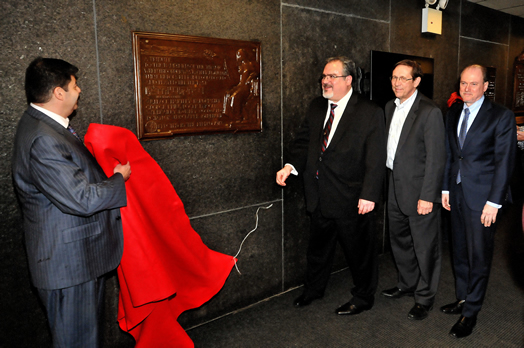 The Titanic musicians' plaque was unveiled and rededicated in December at Local 802. Photo: Walter Karling