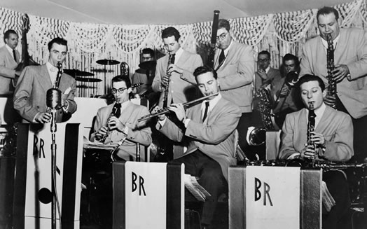 The sax/woodwind section in Boyd Raeburn's band featured many doublers. Photo courtesy of Bruce Raeburn.