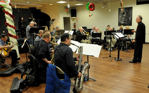Roger Rhodes, Glen Daum and the 48th Street Big Band inaugarated our JAZZ IN THE AFERNOON series on Dec. 8, 2015. Photo: Walter Karling.