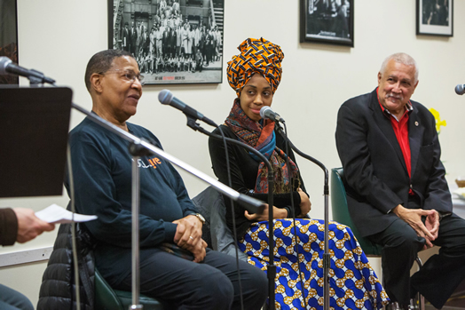 The first Jazz Mentors program took place on March 10, 2016 and featured panelists Paquito D'Rivera (seated at right), Jazzmeia Horn and the late Bob Cranshaw. Photo: Kate Glicksberg.