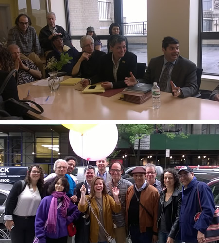 In 2016, jazz faculty at the New School won their new agreement. Teaching artists, union reps and Local 802 counsel Harvey Mars negotiated seriously (top) then relaxed later after a bargaining session (bottom). The new contract contained significant benefits for teachers as well as significant changes.