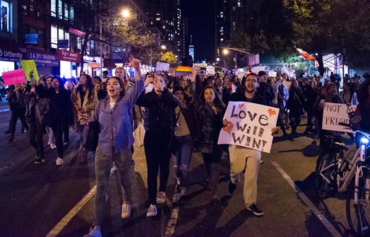 LOVE WILL WIN: Thousands have marched in the name of love, untiy, diversity and tolerance every day since Donald Trump was elected. Photo (by Anthony Albright via flickr.com) from Nov. 11, in a march from Washington Square Park to Trump Tower via 6th Avenue.
