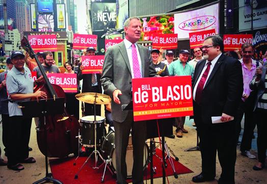 Bill de Blasio at Local 802's endorsement event in 2013.